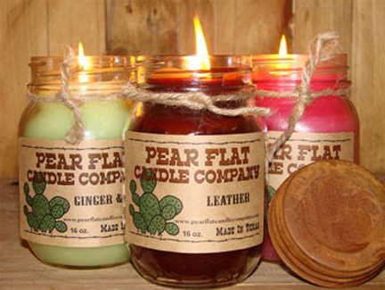 Your Choice of Pear Flat Candles in a Mason Jar