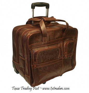 Ropin West Brown Leather Handtooled Briefcase on Rollers