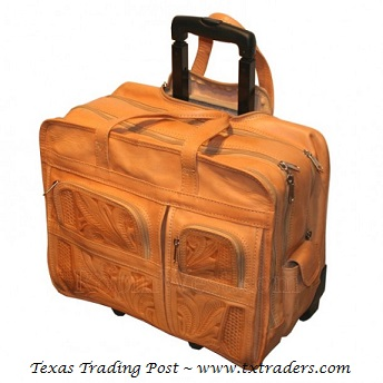 Ropin West Natural Leather Handtooled Briefcase on Rollers