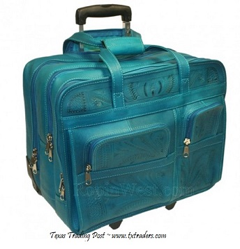 Ropin West Turquoise Leather Handtooled Briefcase on Rollers