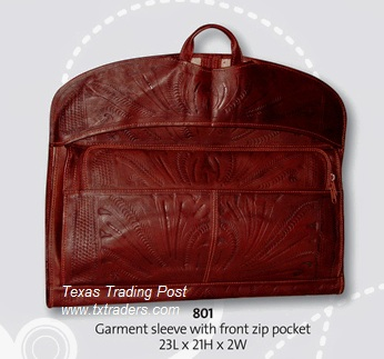 Ropin West Leather Handtooled Garment Overnight Bag