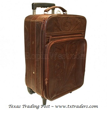 Ropin West Brown Leather Handtooled Carry On Suitcase