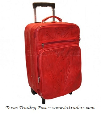Ropin West Red Leather Handtooled Carry On Suitcase