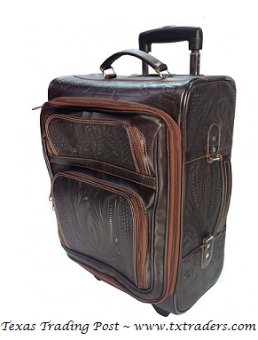 Ropin West Brown Handtooled Leather Carry On Luggage