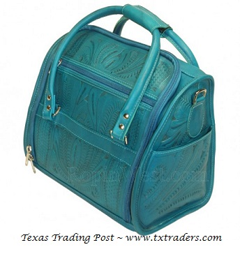 Ropin West Turquoise Leather Toiletry Bag