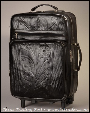 Ropin West Black Leather Handtooled Carry On Suitcase