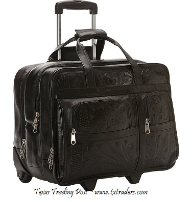 Ropin West Black Leather Handtooled Briefcase on Rollers