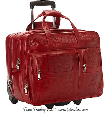 Ropin West Red Leather Handtooled Briefcase on Rollers