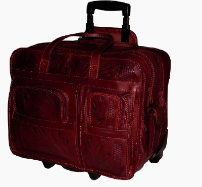 Ropin West Leather Handtooled Briefcase on Rollers