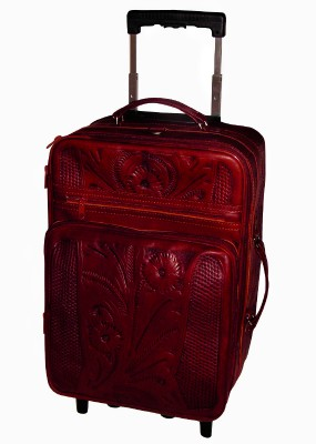 Ropin West Leather Handtooled Carry On on Rollers