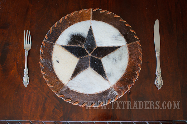 Texas Cowhide Placemat with the Texas Lone Star