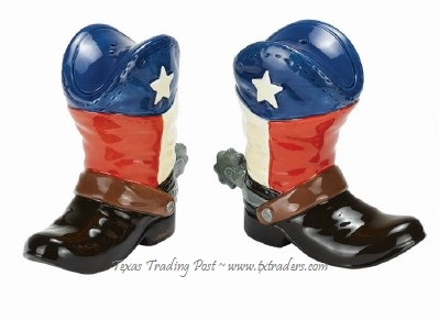 Texas Salt and Pepper Shakers Texas Flag Cowboy Boot