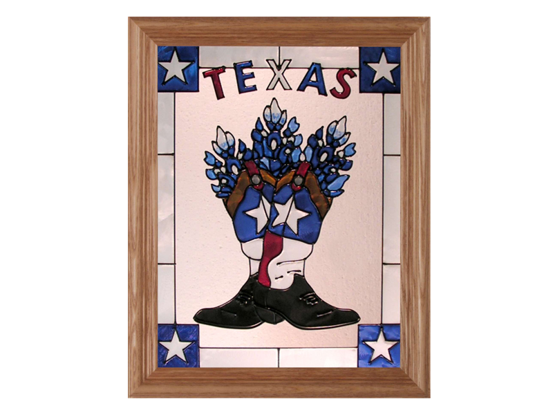 Texas, Cowboy Boots and Bluebonnets - Hand Painted Glass Art - Texas Decor