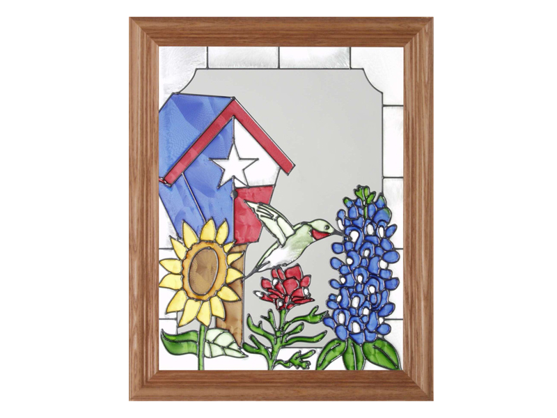 A Texas Bird House and Hummingbird - Hand Painted Glass Art