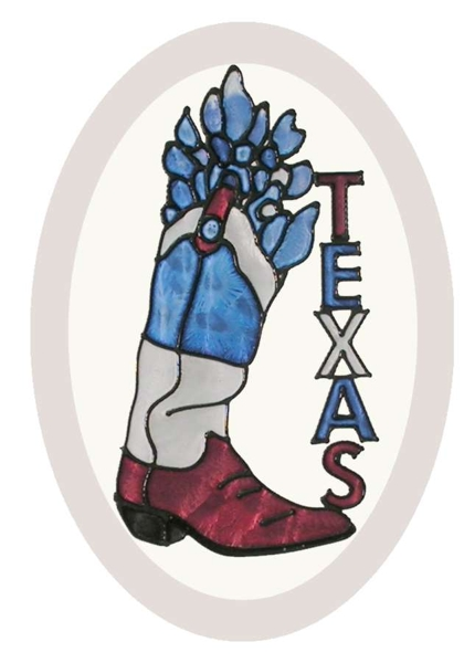 Texas, Cowboy Boot and Bluebonnets - Hand Painted Glass Art