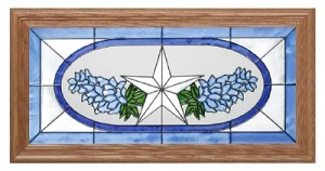 Texas Lone Star and Bluebonnets Handpainted Glass Art