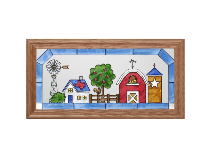 Texas Farm and Ranch Framed Glass Art