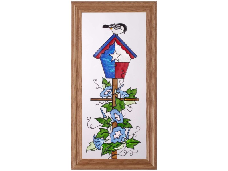 Bird House in the Texas Flag - Hand Painted Glass Art