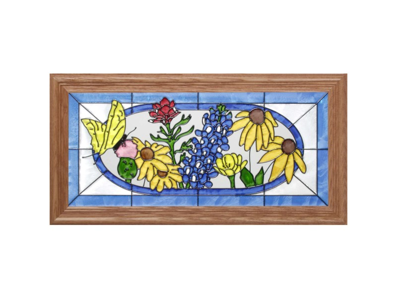 Framed Glass Art - Wildflower Bouquet