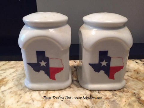 Texas Salt and Pepper Shakers with our Texas Map