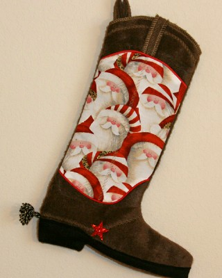 Boot Texas Christmas Stocking with Santa