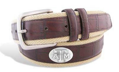 Aggie BOLPT Croc Leather Belt - Texas A&M