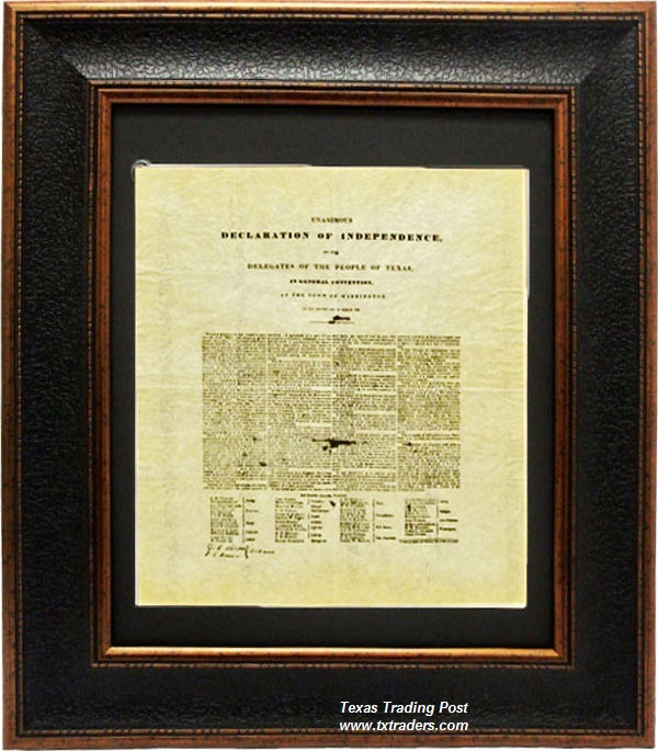 Leather-look Framed Print - Texas Declaration of Independence