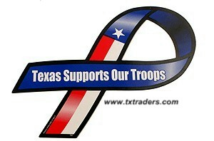 Texas Supports Our Troops Magnetic Car Ribbon