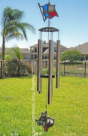 Texas Stained Glass Pewter Wind Chimes - 50""