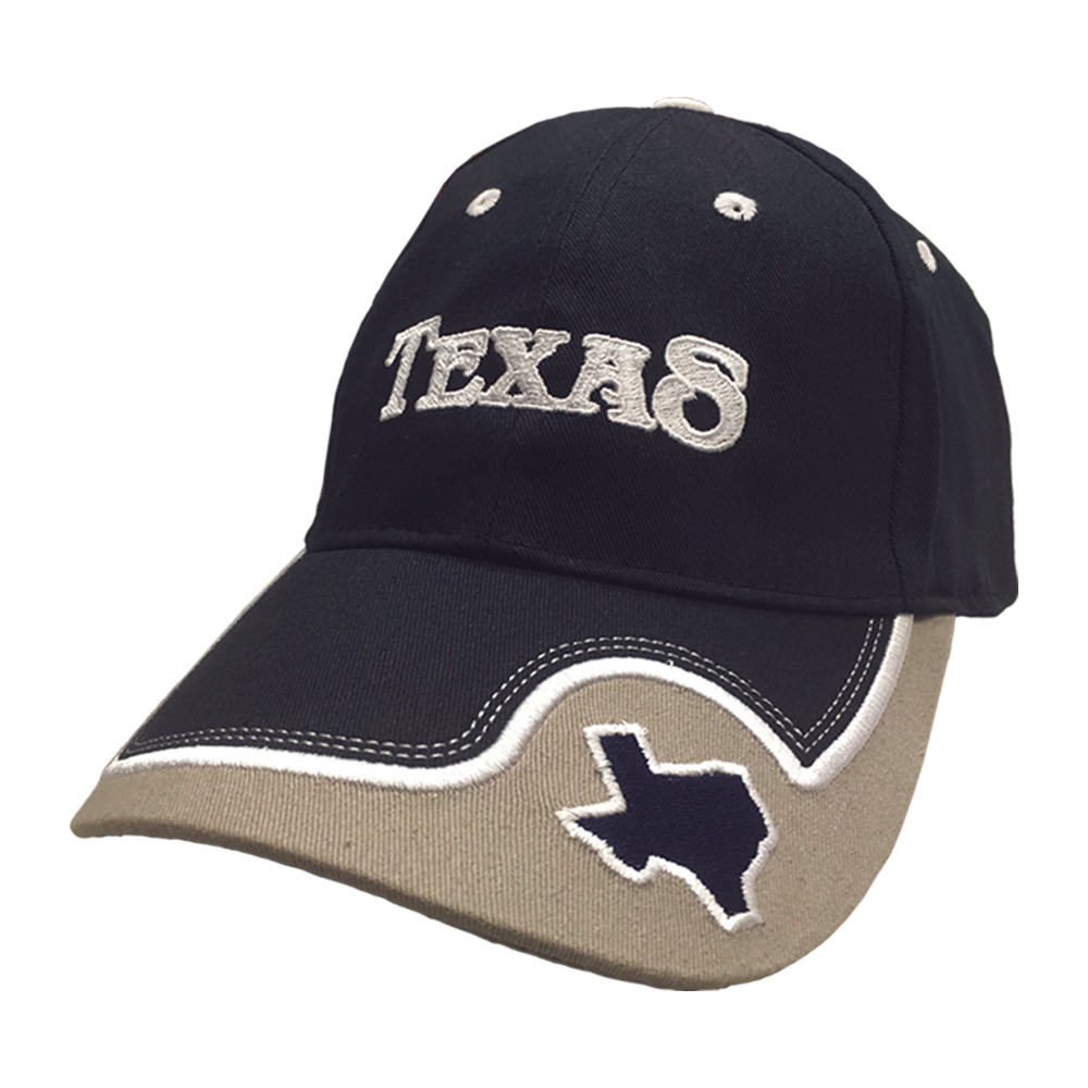 Embroidered Texas Navy Cap with the Map of Texas