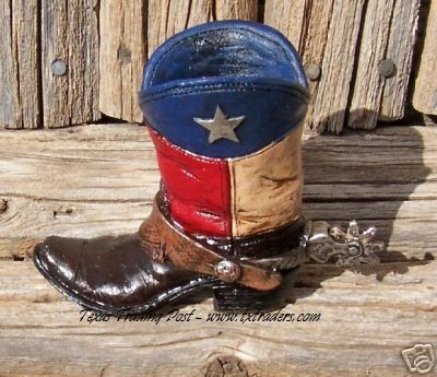 Texas Boot Pen and Pencil Holder - Texas Flag