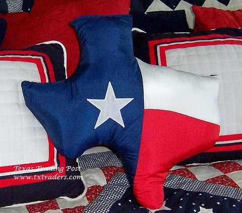 Texas Shaped Flag Pillow