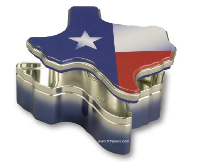 Texas Shaped Flag Candy or Nut Gift Tin