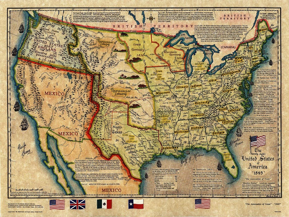 Historical Map US Map1845 - Us Map Texas