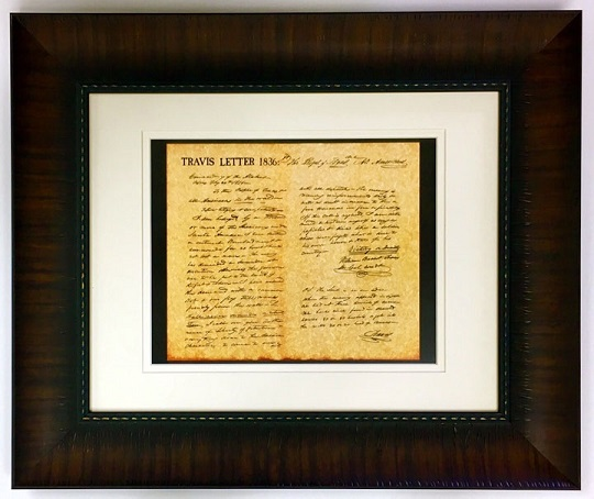 Framed Print   William B Travis Letter