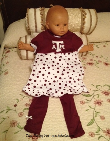 Toddlers Aggie Polka Dot Dress and Pants with Texas A&M Logo