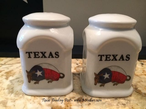 Texas Salt and Pepper Shakers with Texas Armadillos