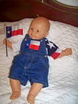 Texas Flag Denim Short Overalls for Baby