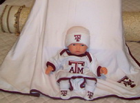 Baby  Aggie-Texas A&M Booties and Knit Cap
