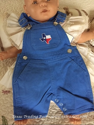 Baby Blue Bib Overalls with embroidered map of Texas-Toddlers