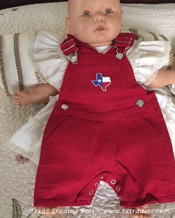 Baby Red Bib Overalls with embroidered map of Texas - Infants