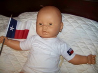 Baby T-Shirt with the Texas Flag on Sleeve