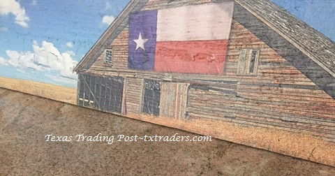Barnwood Art - Texas Flag Barn on the Prairie