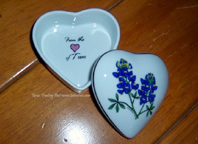 Ceramic Trinket Box with Texas Bluebonnets