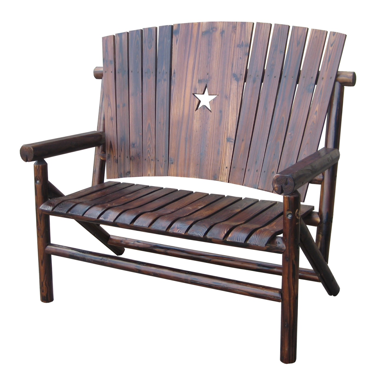 Texas Double Bench with the Texas Lone Star