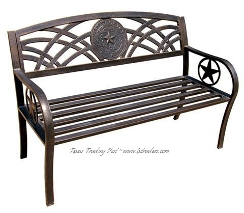 Bench with the Texas State Seal