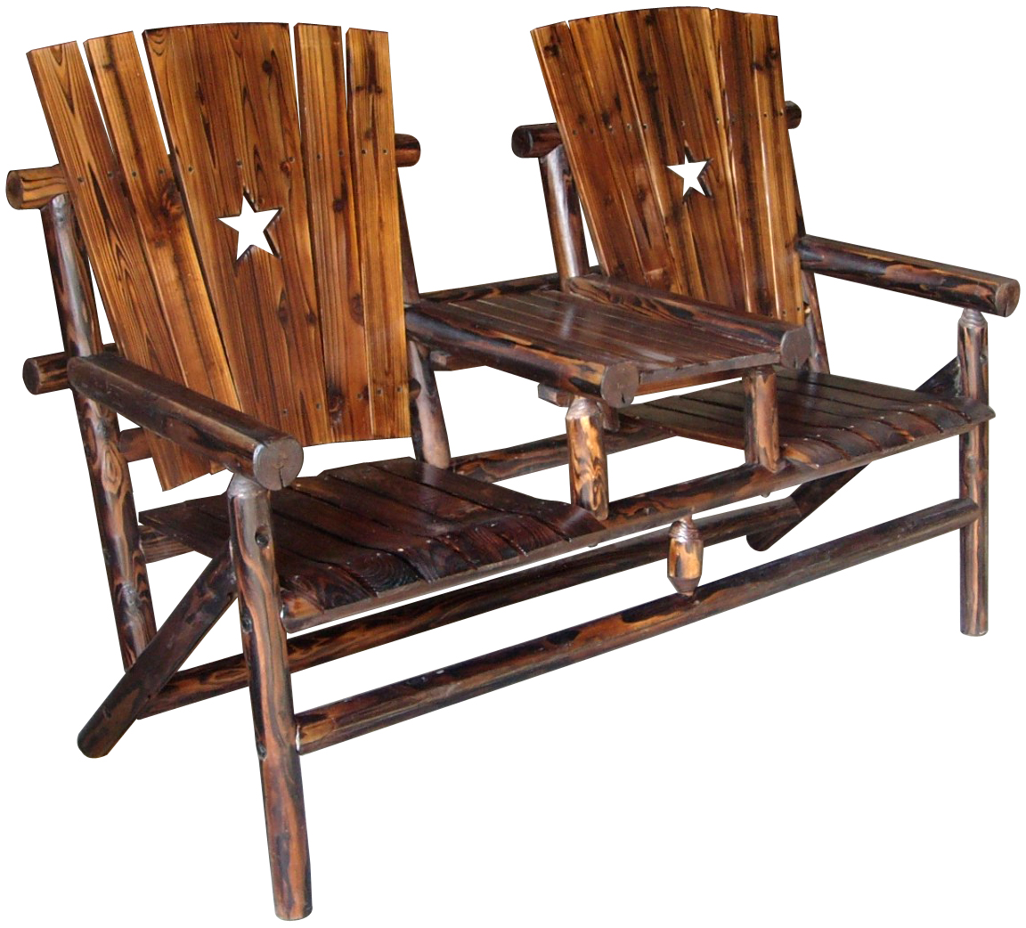 Texas Double Bench and Tray with the Texas Lone Star
