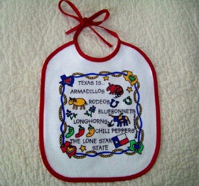 "Texas Baby Bib -""Texas is Armadillos"""