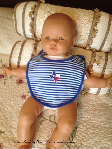 Baby Bib with the Embroidered Map of Texas - Blue Stripes