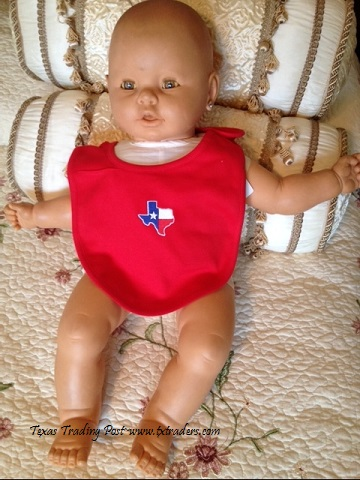 Baby Bib with the Embroidered Map of Texas - Red